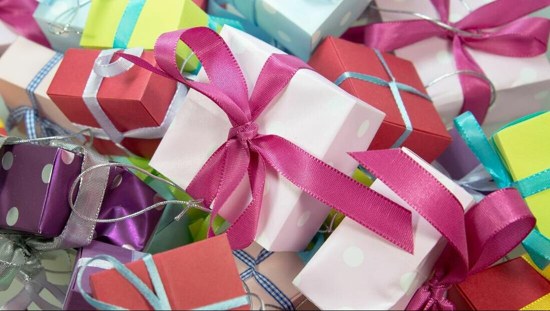 Assortment of wrapped gifts